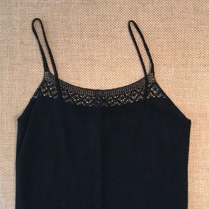 BCBG MaxAzria black crochet neck and waist tank M